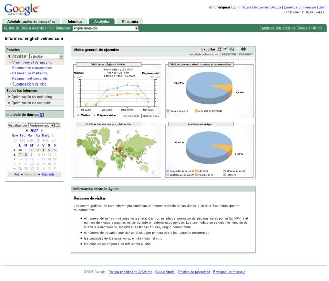 Antiguo Interfaz Google Analytics